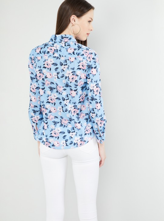 MAX Floral Print Rolled-Up Sleeves Shirt