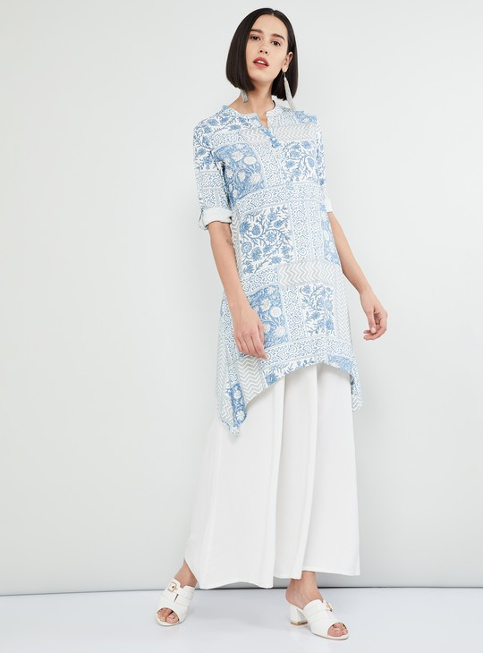 MAX Floral Print Rolled-Up Sleeves Kurta