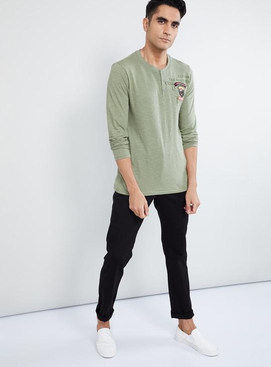 MAX Typographic Print Full Sleeves Henley Collar T-shirt