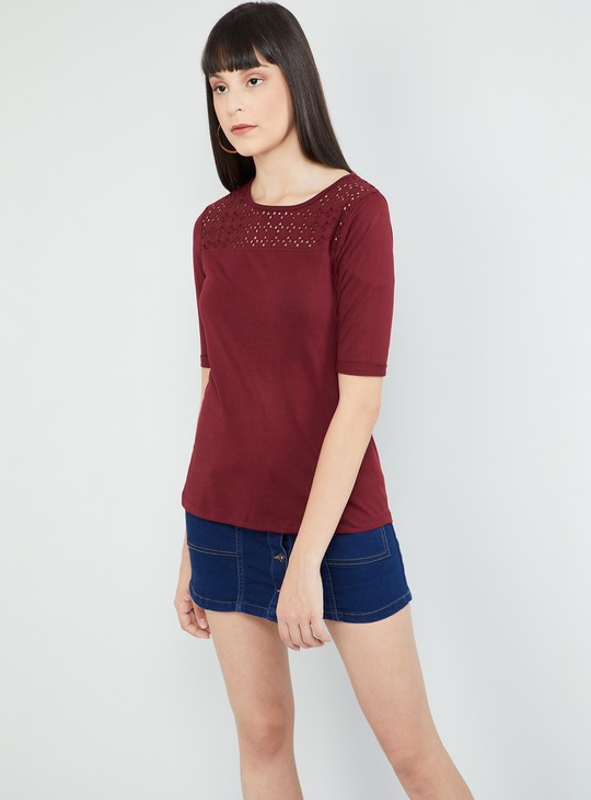 MAX Lace Panel Round Neck T-shirt