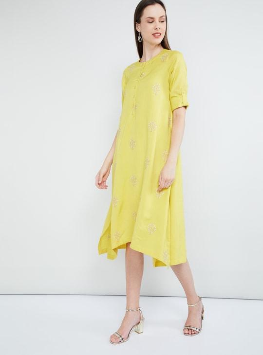 MAX Floral Embroidery Midi Dress