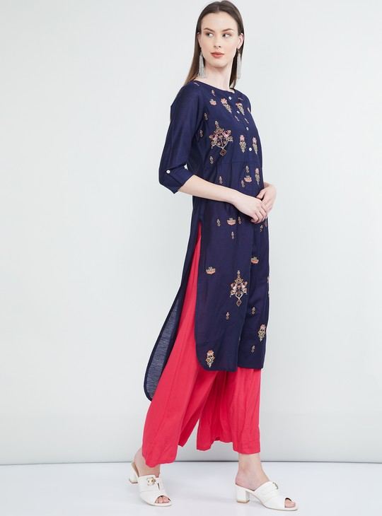 MAX Embroidered Roll-Up Sleeves Kurta