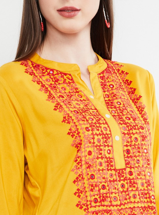MAX Mirror Embellished Rolled-Up Sleeves Kurta