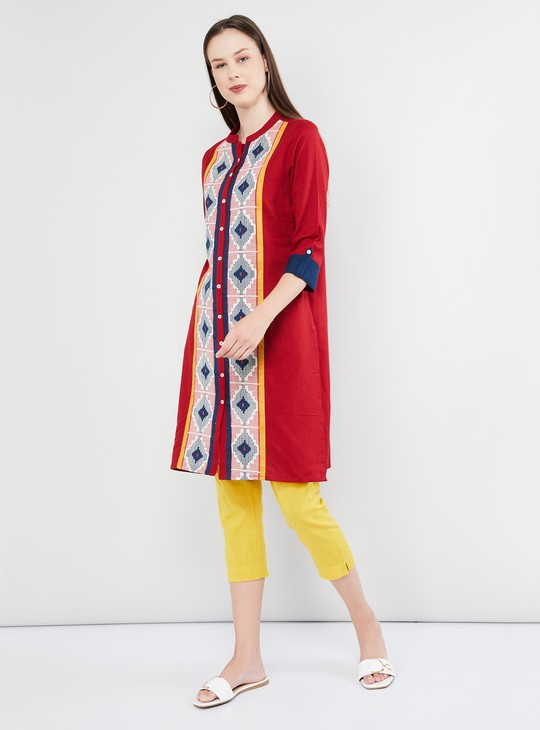 MAX Printed Rolled-Up Sleeves Kurta
