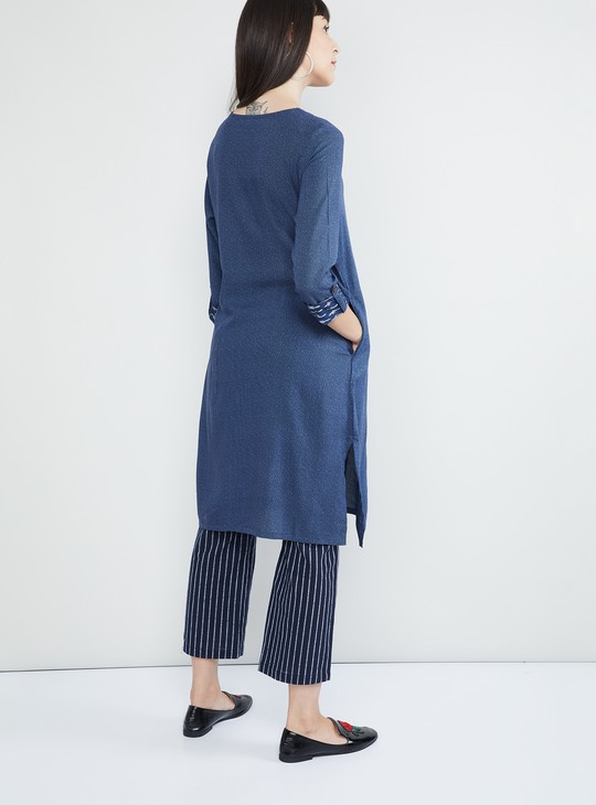 MAX Textured Rolled-Up Sleeves Kurta