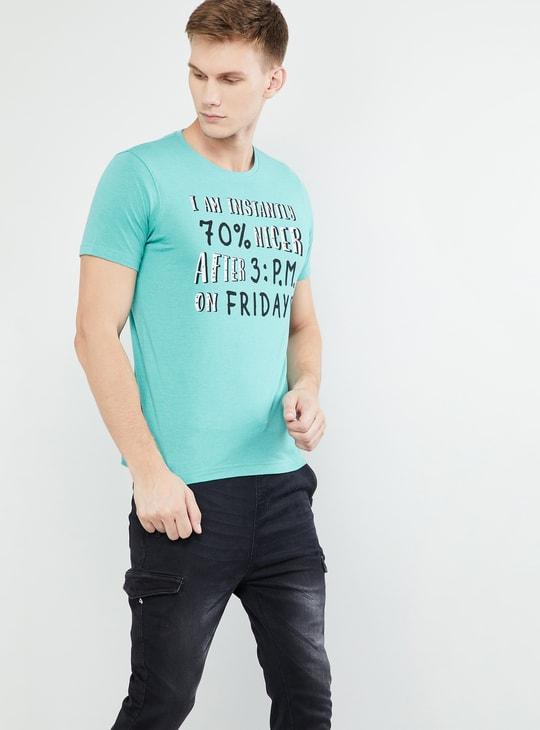 MAX Typographic Print Crew-Neck Slim Fit T-shirt