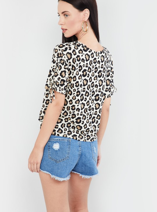 MAX Tie-Up Sleeves Animal Print Top