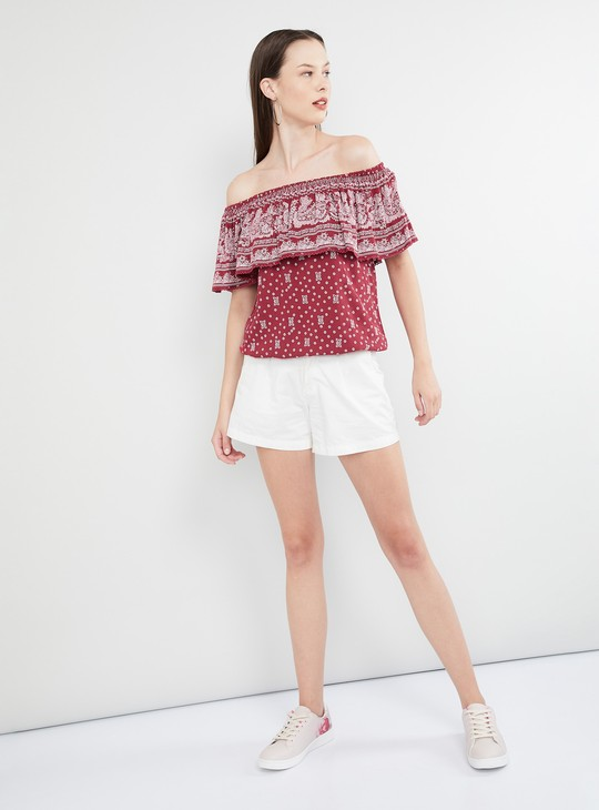 MAX Ethnic Print Ruffled Detail Bardot Top