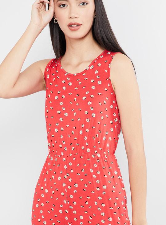 MAX Floral Print Sleeveless Jumpsuit