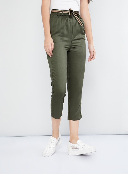 MAX Cropped Pants with Tie-Up Belt