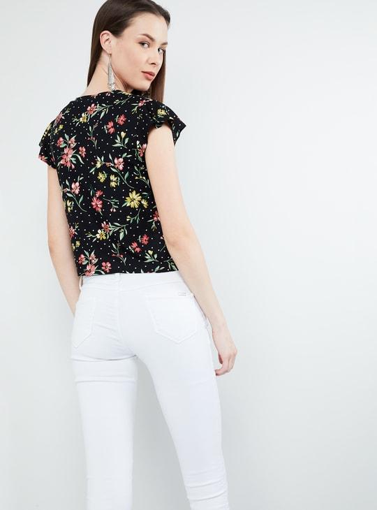 MAX Cap Sleeves Floral Print Shirt