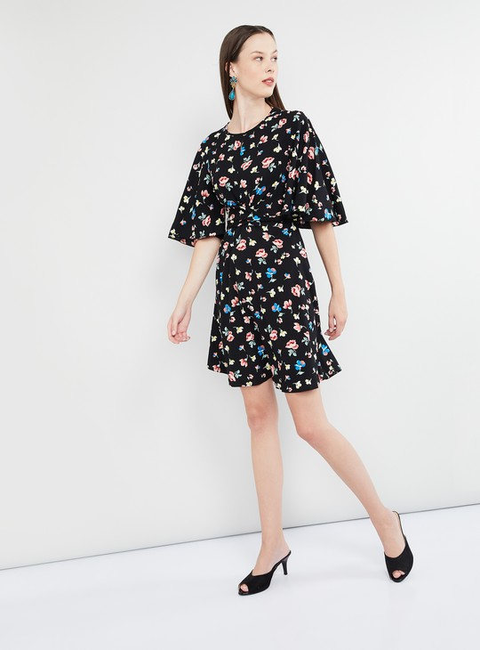 MAX Floral Print Flutter Sleeves Dress