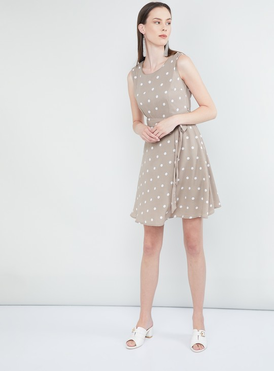 MAX Polka Dot Print Sleeveless Dress
