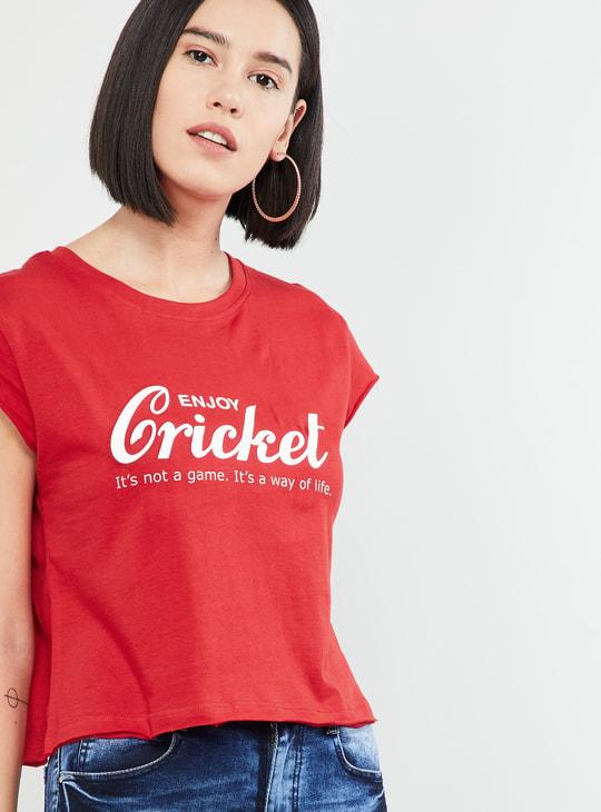 MAX Typographic Print Cap Sleeves Crop T-shirt