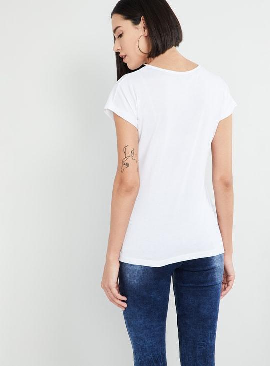 MAX Floral Print Cap Sleeves T-shirt