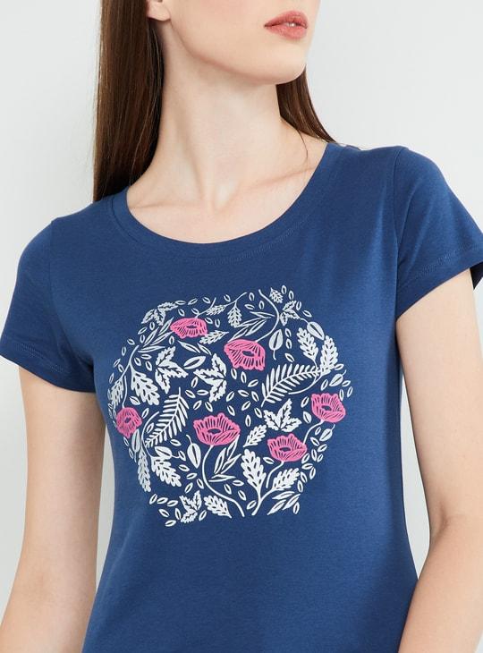 MAX Floral Print Cap Sleeves Top
