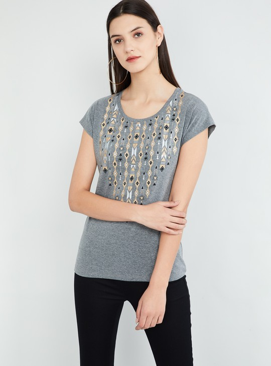 MAX Geometric Print Cap Sleeves T-shirt