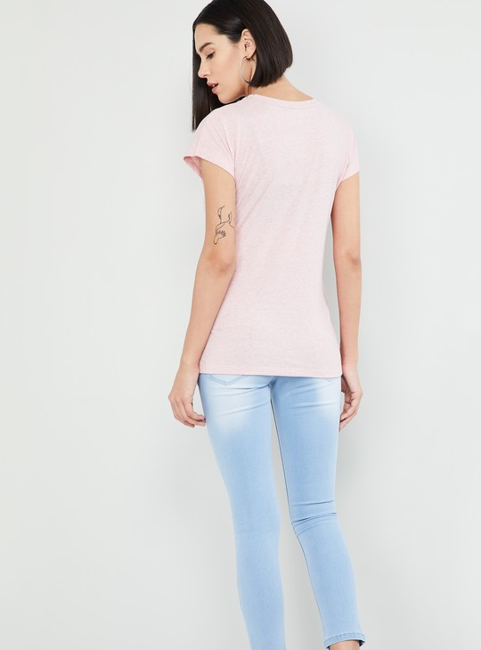 MAX Geometric Print Cap Sleeves T-shirt