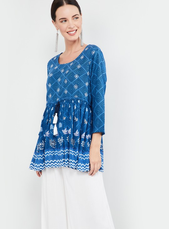 MAX Printed Top with Gathers