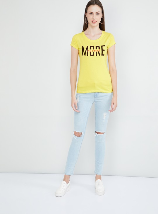 MAX Typographic Print Cap Sleeves T-shirt