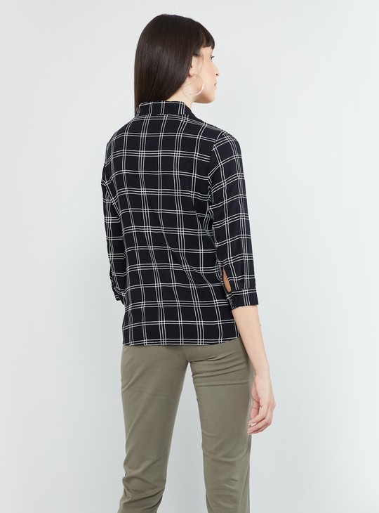MAX Check Print Top with Sash Tie-Up