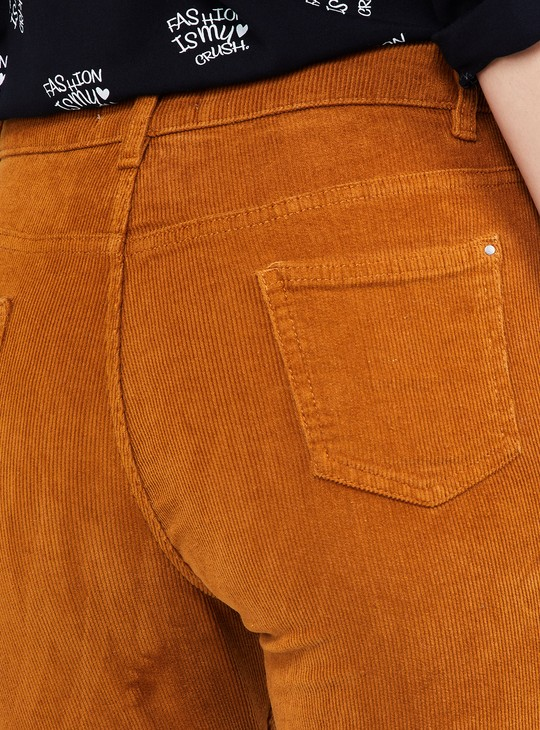 MAX Solid Ankle Length Corduroy Trousers
