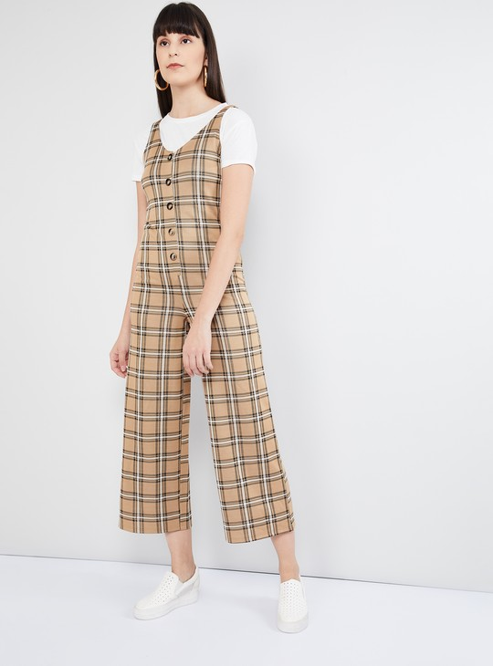 MAX Checked Flared Jumpsuit