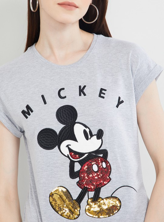 MAX Mickey Mouse Print Cap Sleeves T-shirt