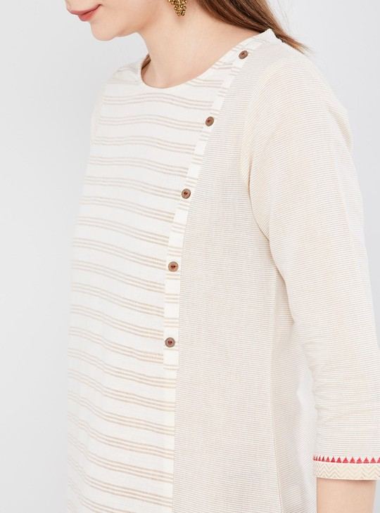 MAX Striped Straight Kurta with Mock Buttons