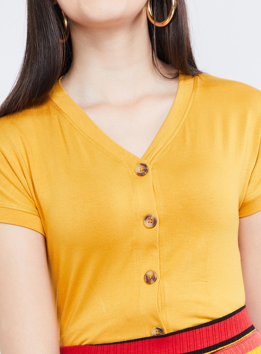 MAX V-neck Top with Button Placket