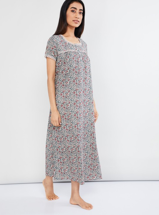 MAX Floral Print Night Dress with Lace Trim
