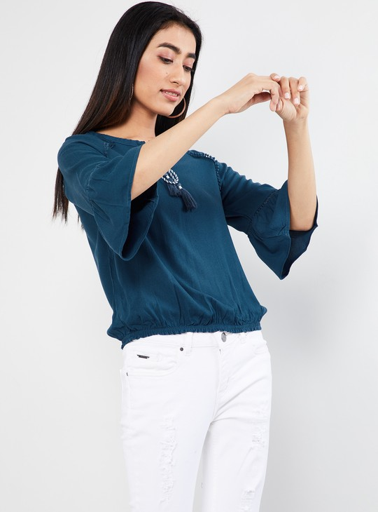 MAX Solid Bell Sleeves Tie-Up Detail Blouson Top