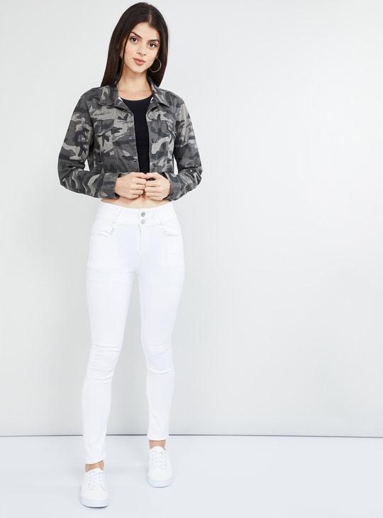 MAX Camo Print Cropped Jacket
