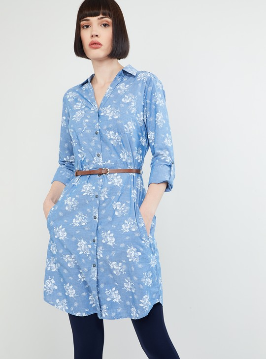 MAX Floral Print Tunic with Belt