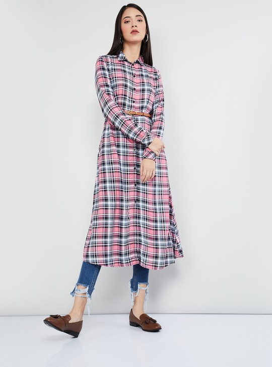 MAX Checked Shirt Tunic with Belt