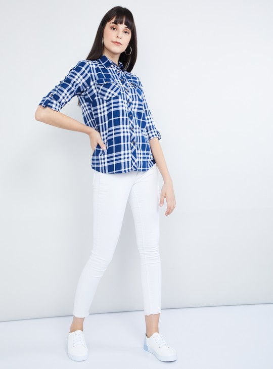 MAX Roll-Up Sleeves Checked Casual Shirt