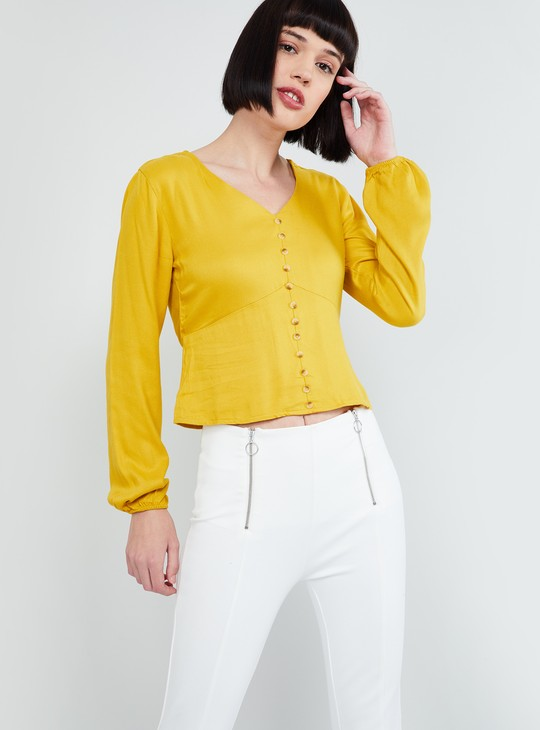 MAX Solid V-neck Blouse with Cuffed Long Sleeves