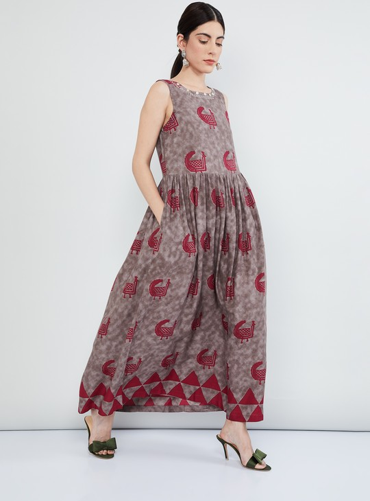 MAX Peacock Print Sleeveless Maxi Dress