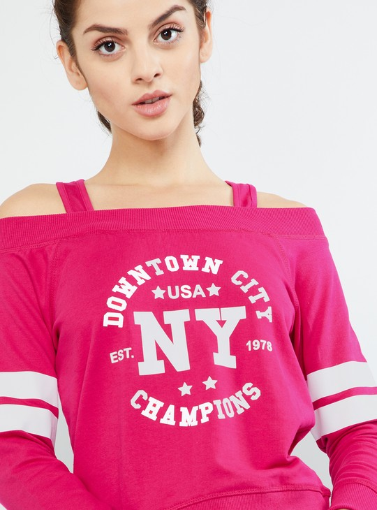 MAX Typographic Print Full Sleeves Off-Shoulder Sweatshirt