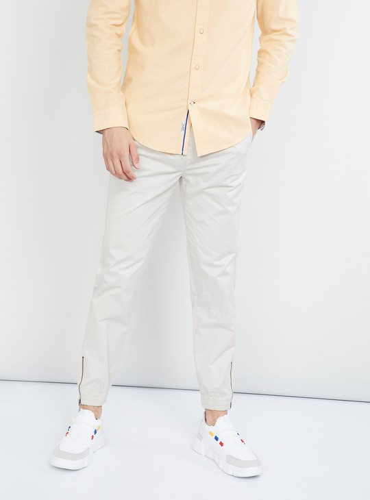 MAX Solid Jogger Pants with Zip Detail