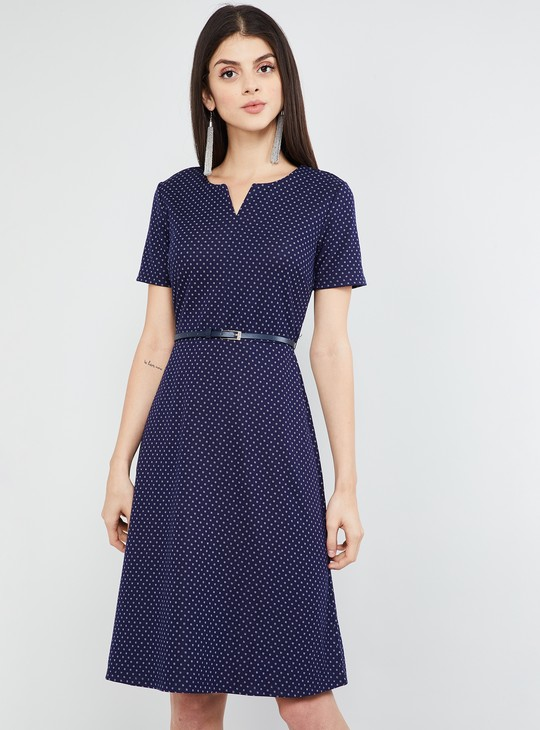 MAX Printed A-line Dress with Belt