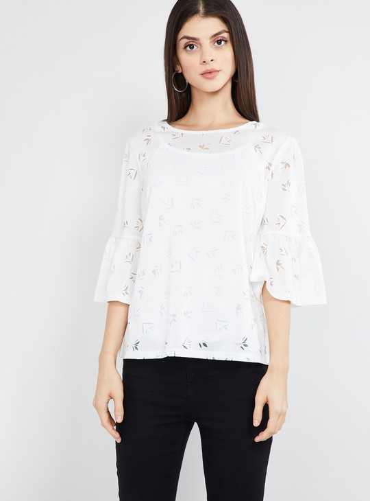MAX Floral Patterned Round Neck Top