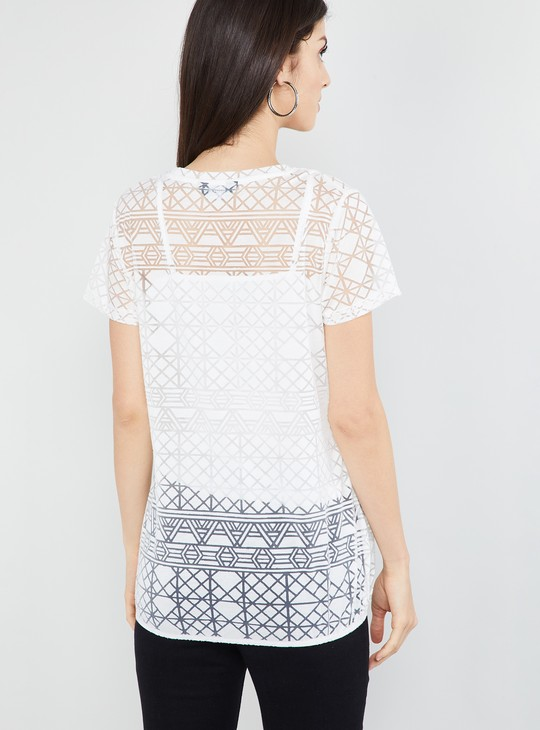 MAX Geometric Patterned Sheer Top