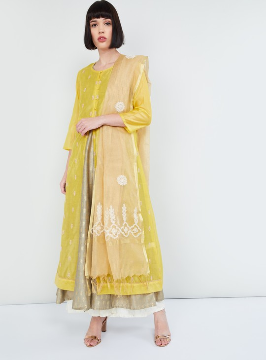 MAX Checked Dupatta with Contrast Embroidery and Tassels