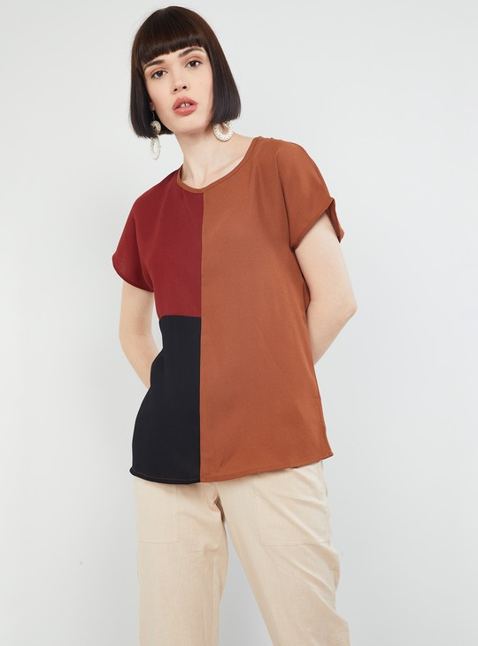 MAX Colourblocked Round Neck Top