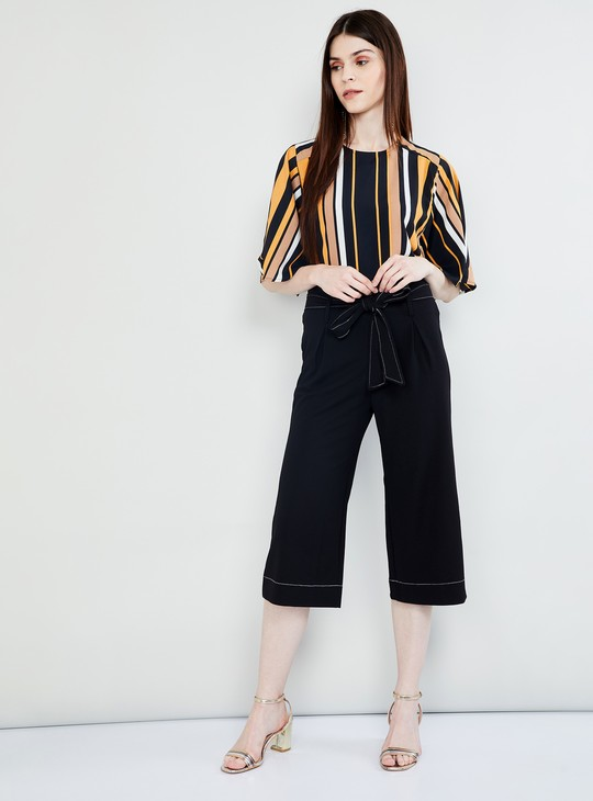 MAX Striped Flared Sleeves Top