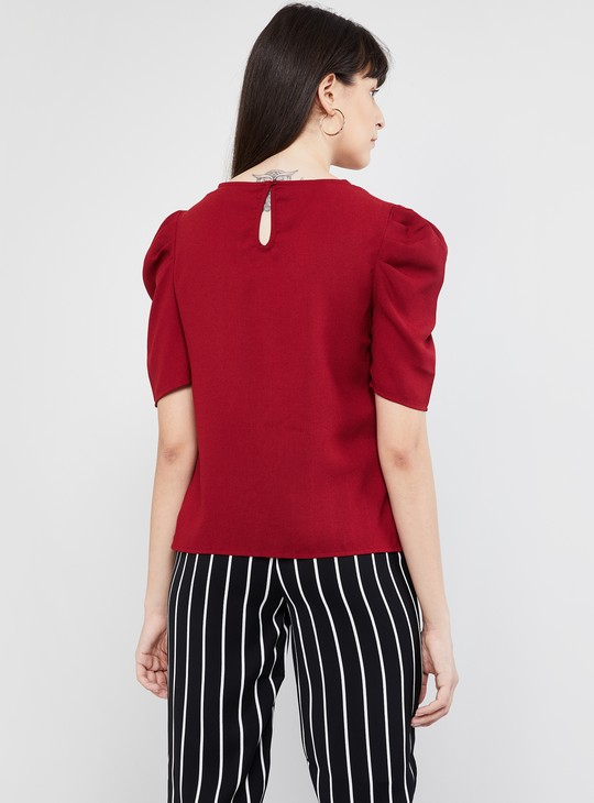 MAX Solid Puffed Sleeves Blouse