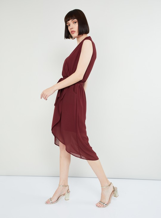 MAX Solid Tulip Dress with Sash Tie-up