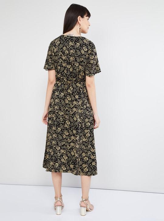 MAX Floral Print A-line Midi Dress