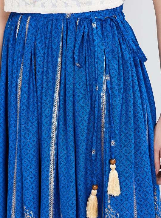 MAX Foil Print Tassel Tie-Up Detail Skirt